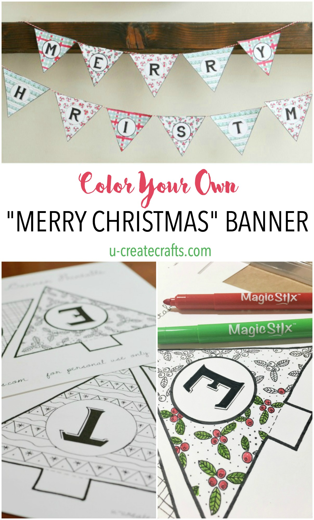 picture about Merry Christmas Banner Printable called Merry Xmas Coloring Banner - U Make