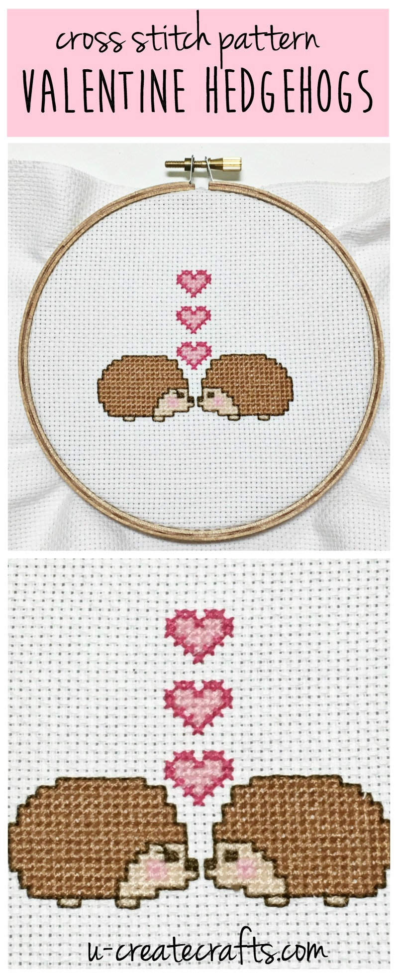 Cross Stitch Pattern - Valentine Hedgehogs by U Create