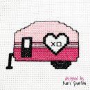 """Free """"Love Camper"""" cross stitch pattern by Kari Sweeten"""