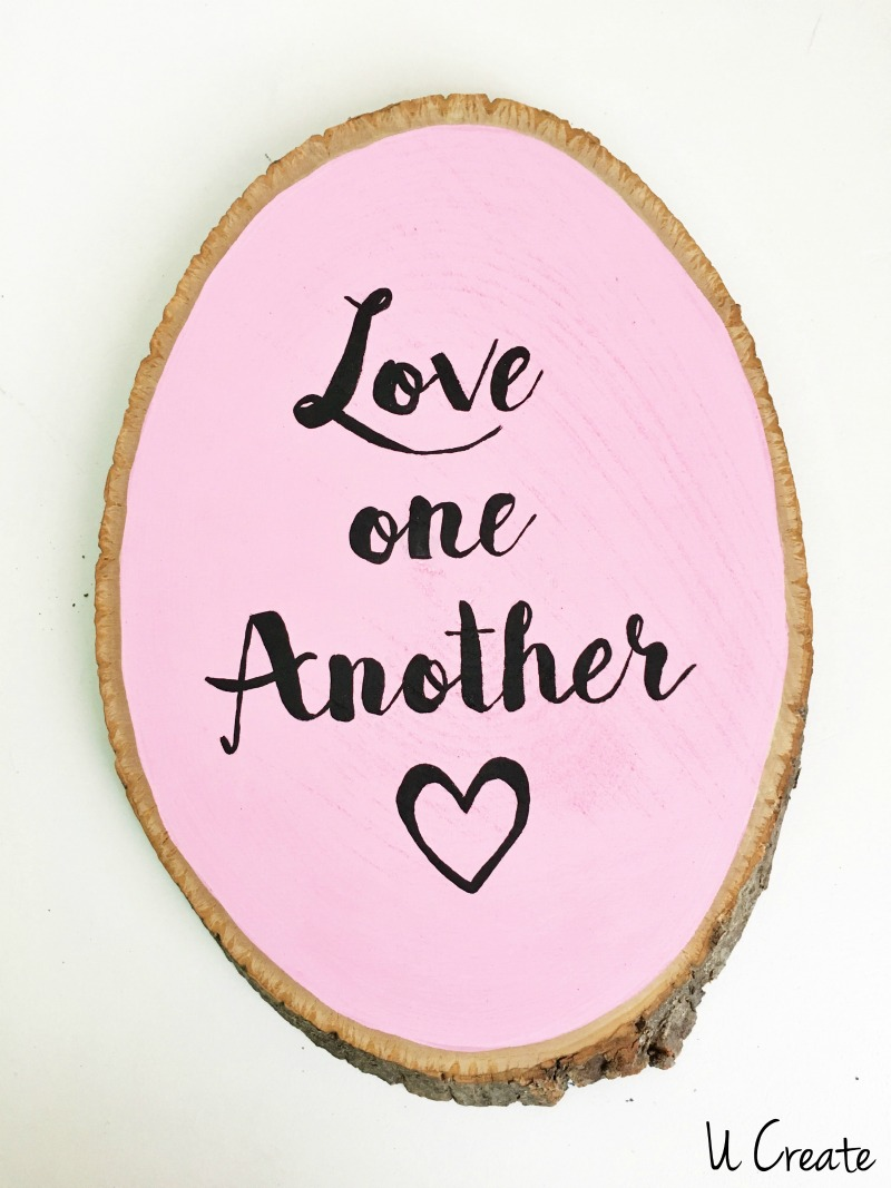 DIY Valentine Wood Decor Slices by U Create