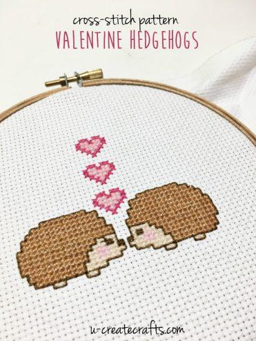 Cross Stitch Pattern - Valentine Hedgehogs by U Create