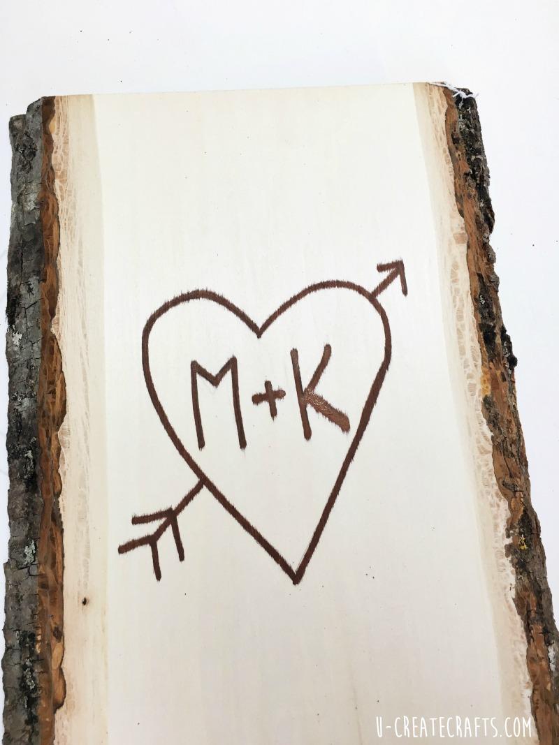 DIY Valentine Tree Tutorial by U Create (faux wood burning)