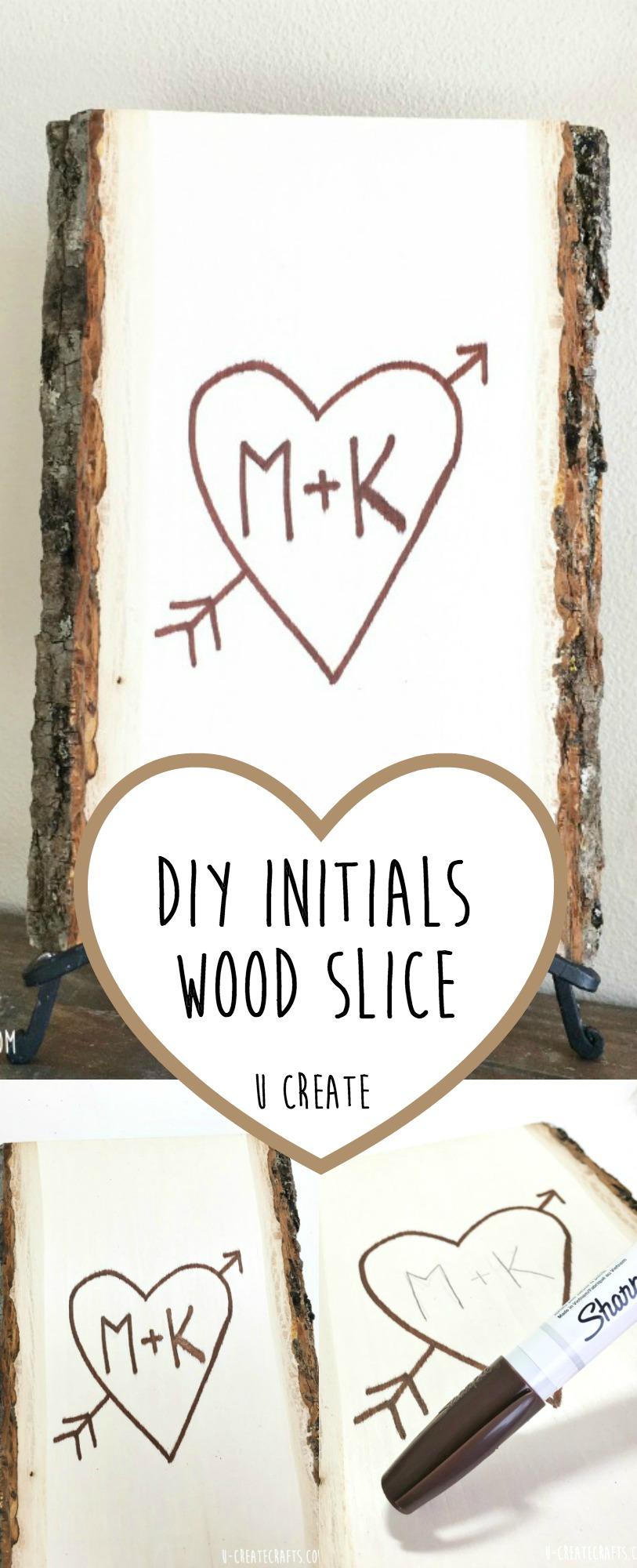 DIY Initial Wood Slice - faux wood burning tutorial by U Create
