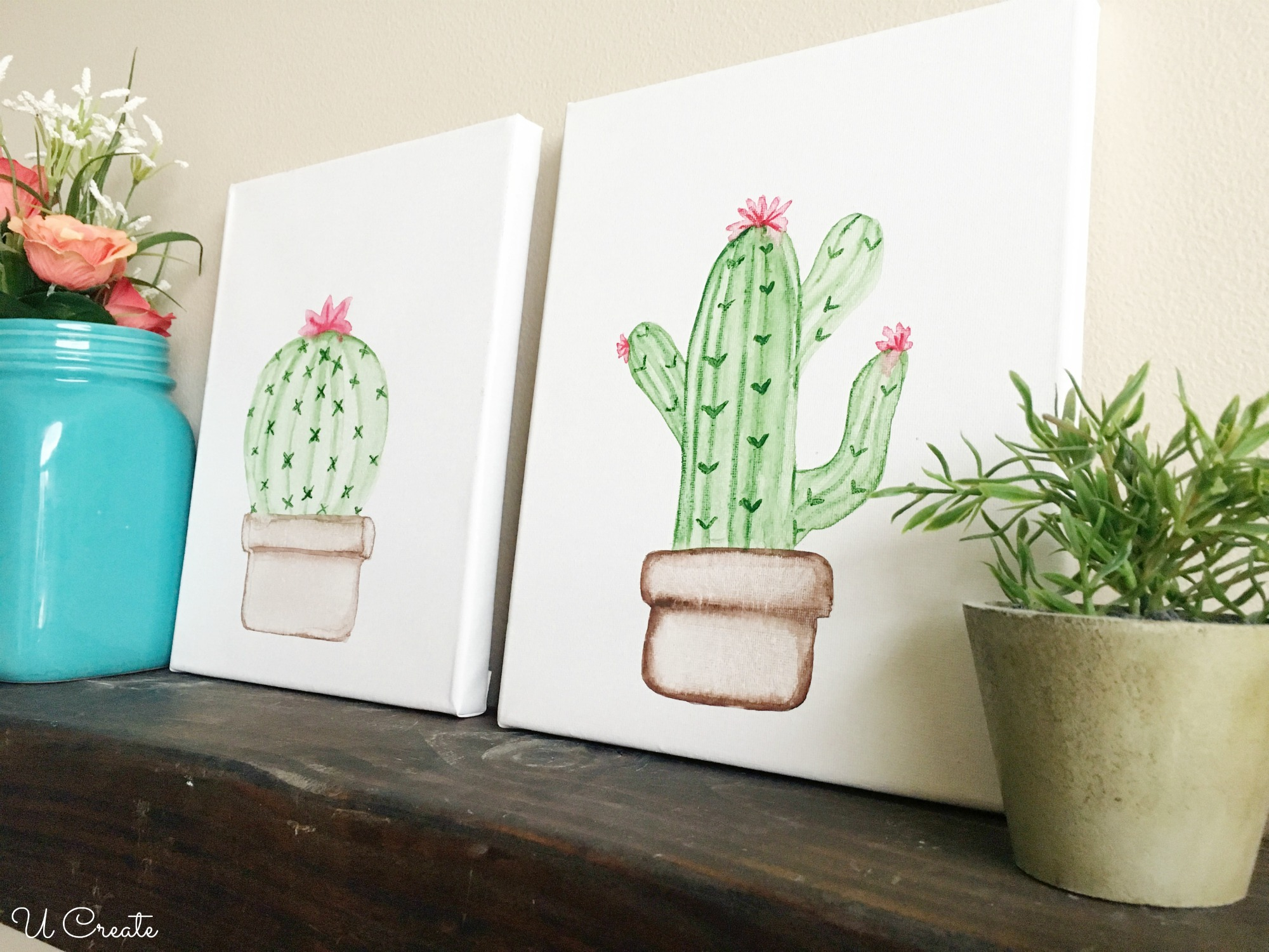 Cactus Watercolor Tutorial by U Create