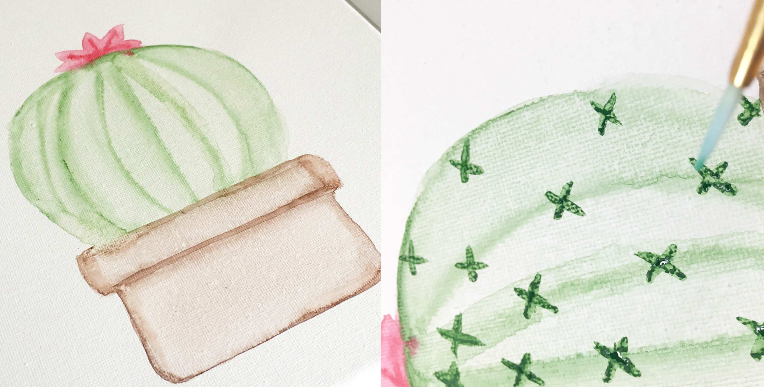 DIY Cactus Canvas using watercolors by U Create