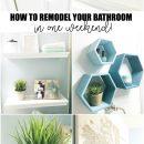 How to Remodel Your Bathroom in one simple weekend! u-createcrafts.com