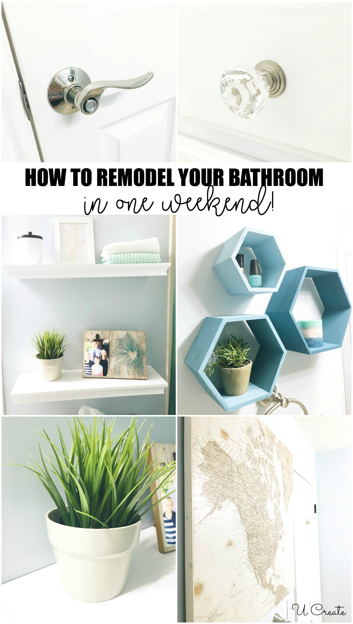 How to Remodel Your Bathroom in one simple weekend! u-createcrafts.com
