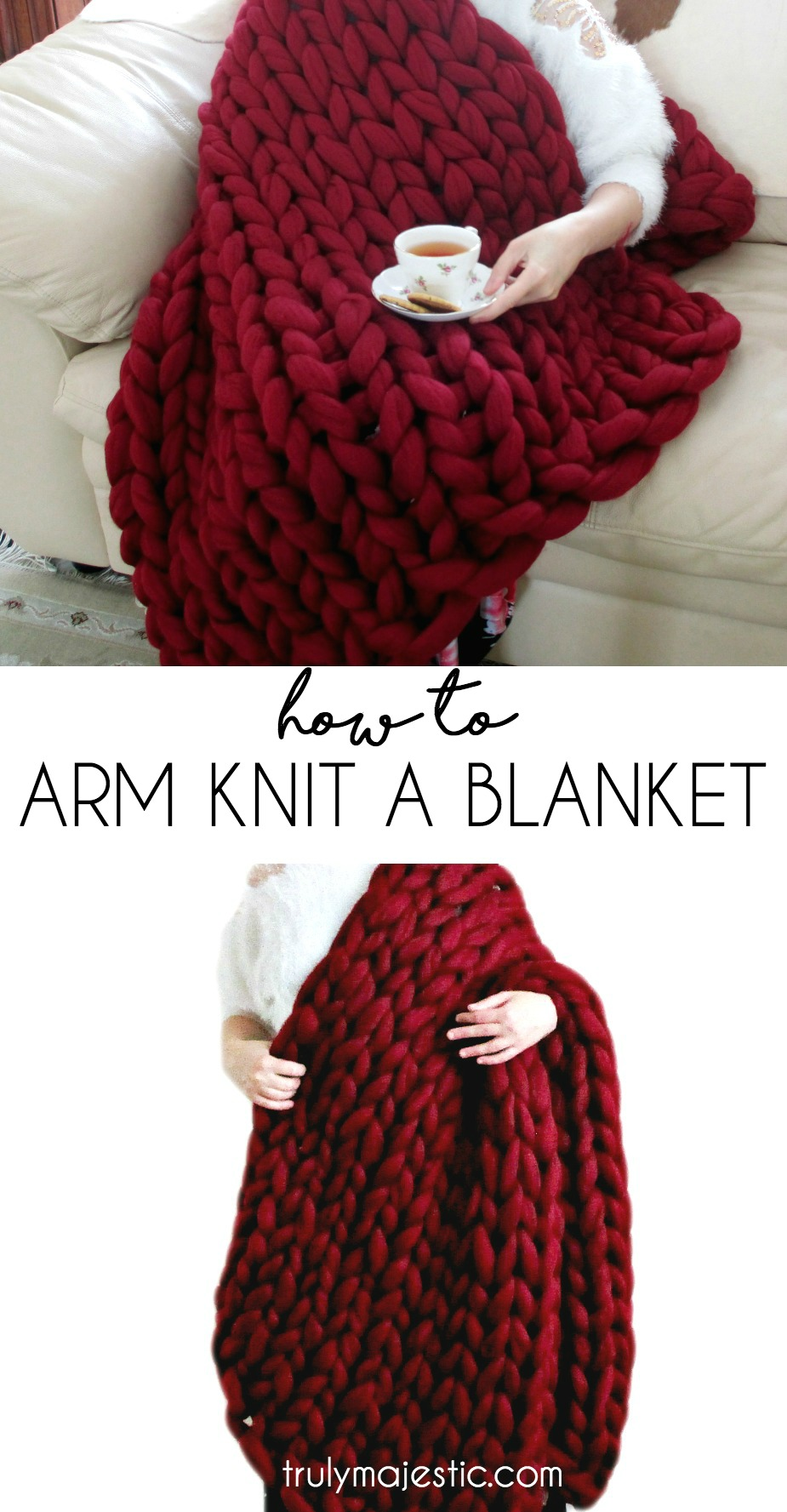 Knitting A Blanket With Arms : How to arm knit a blanket