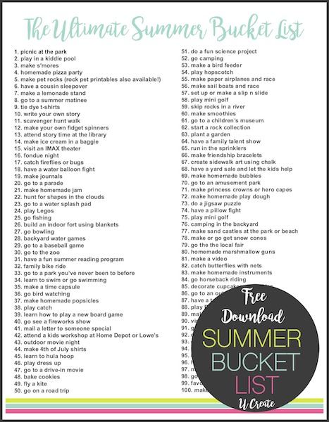 The Ultimate Summer Bucket List - made by kids for kids!