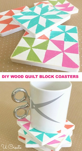 DIY Wood Quilt Block Coasters by U Create