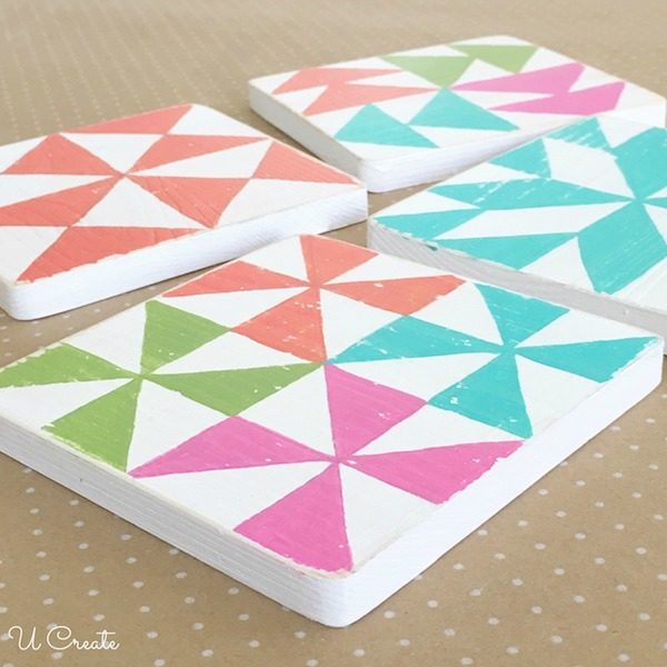 DIY Wood Quilt Block Coasters