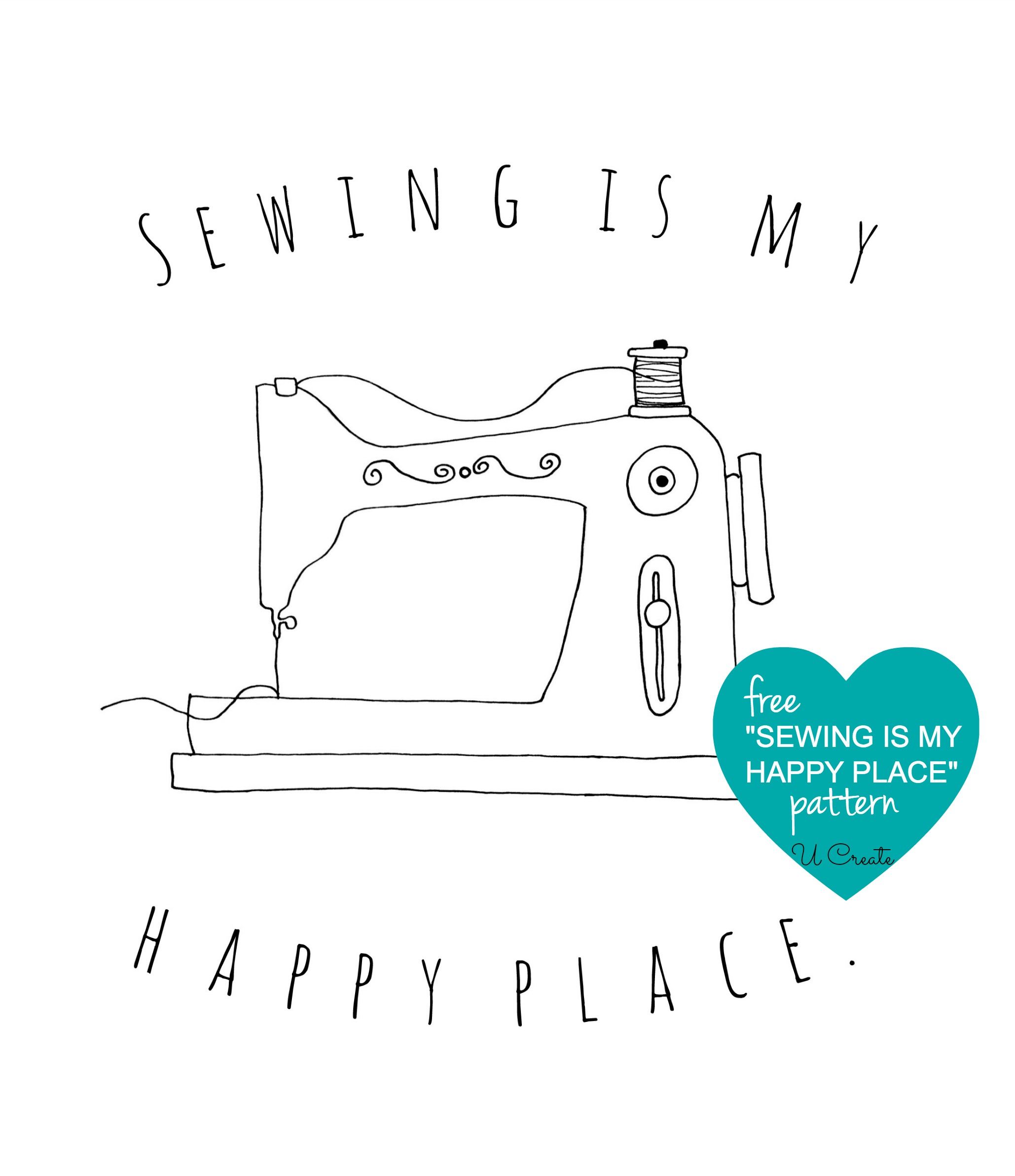 Sewing is My Happy Place stitchable pattern
