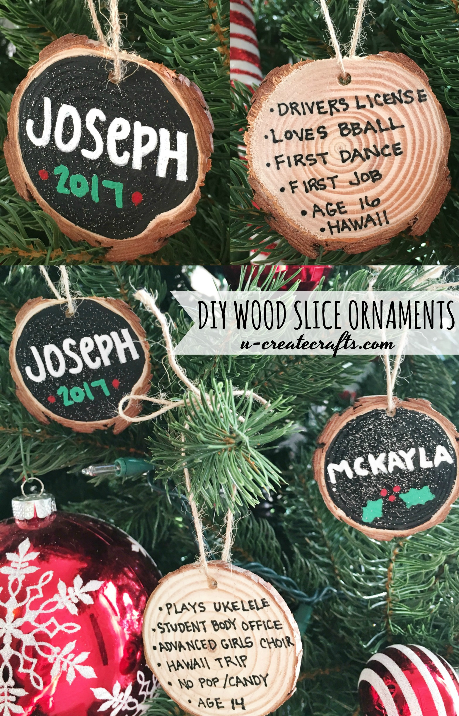 DIY Wood Slice Ornaments - personalize on back with memories!