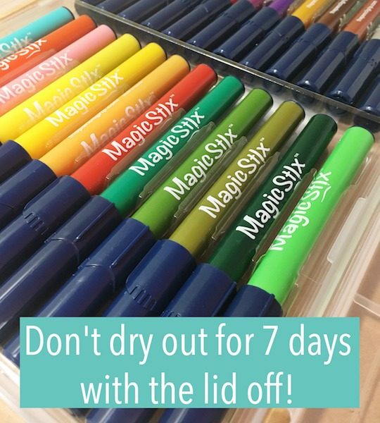 Magic Stix - markers don't dry out with lid off for 7 days!