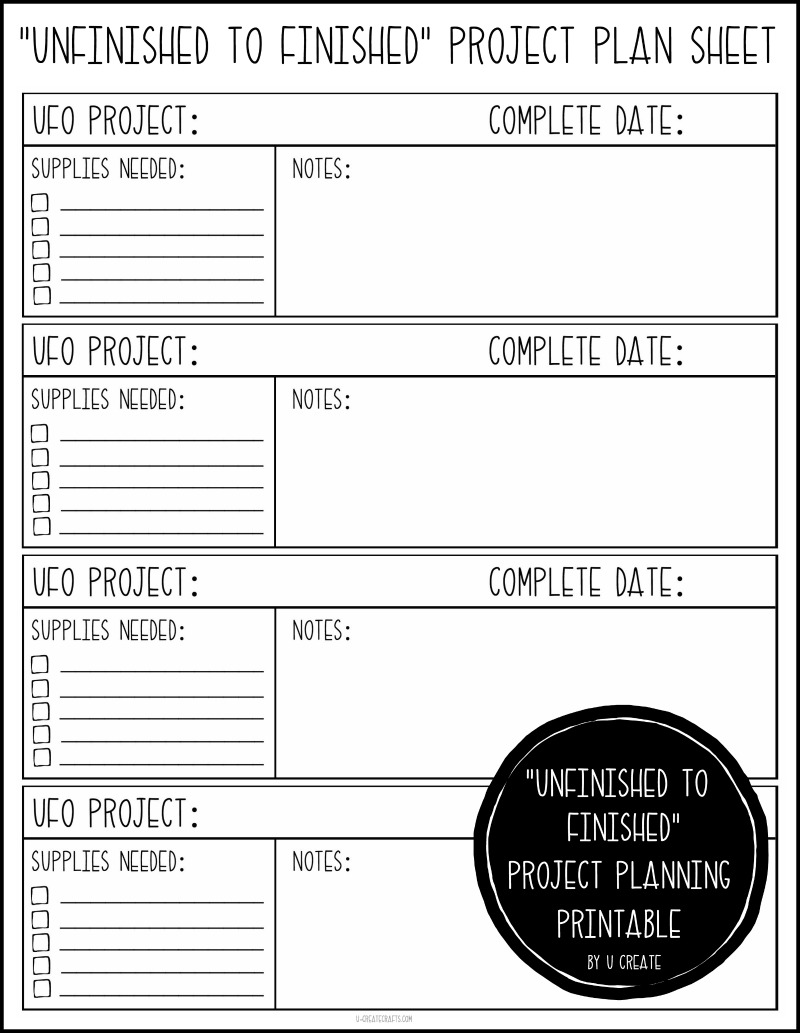 Unfinished to Finished Project Plan Sheet