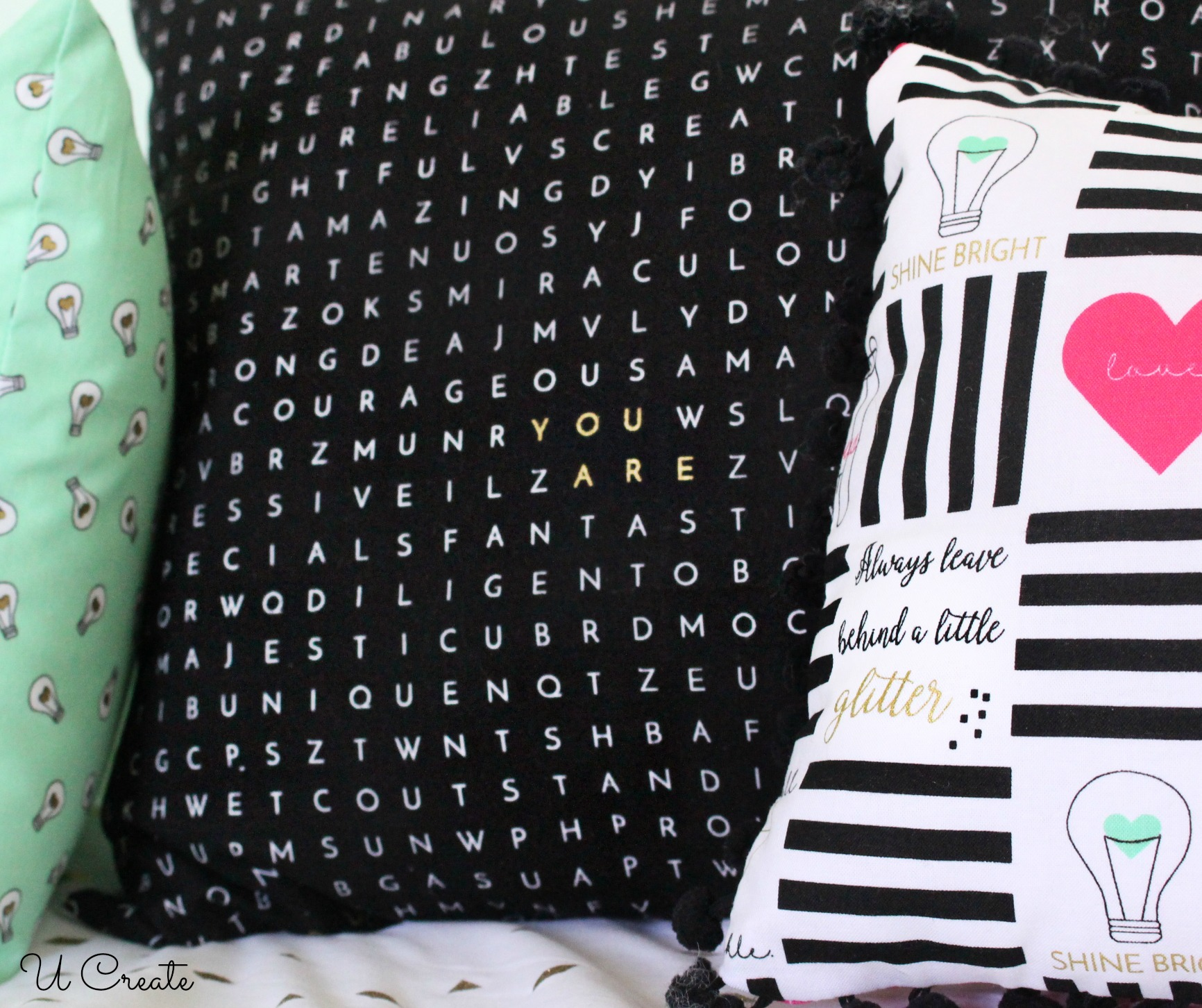 Pillow Cover using word search fabric!