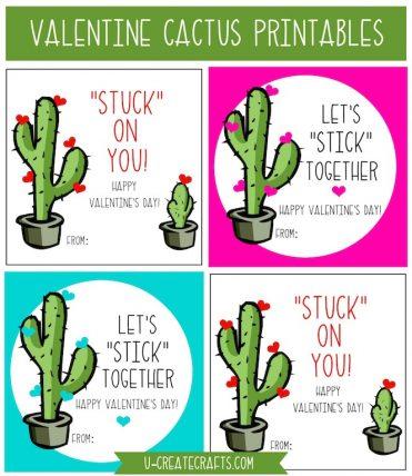 Cactus Valentine Printables by U Create