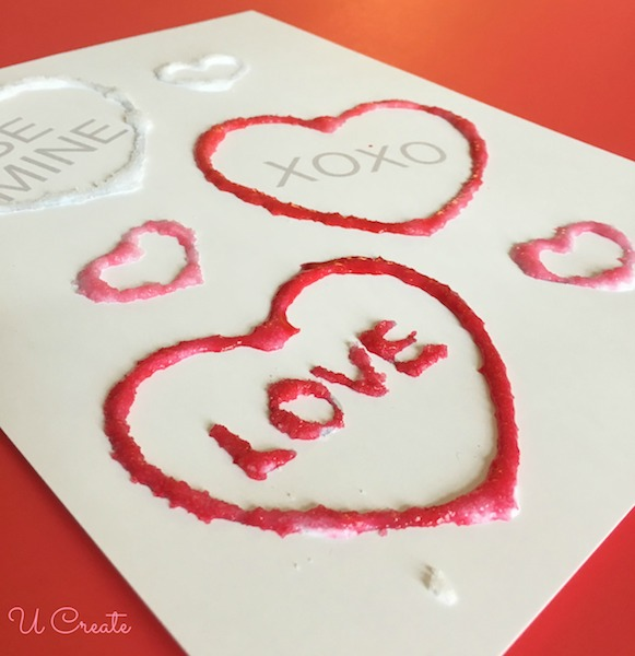 Kids Craft: Salt painting with free Valentine printable!
