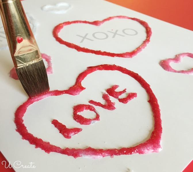 Kids Craft: Salt painting with free Valentine printable!
