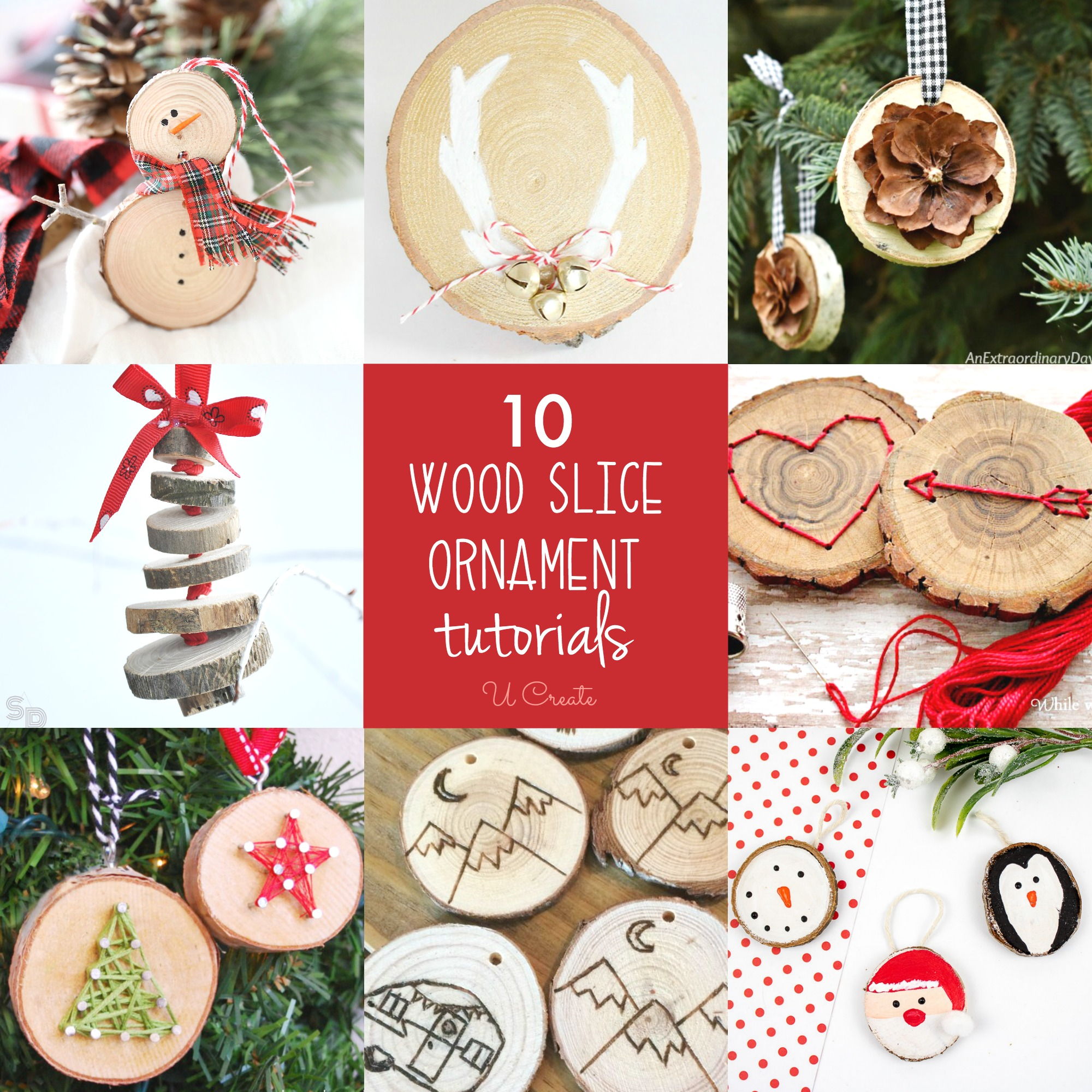 10 DIY Wood Slice Ornaments